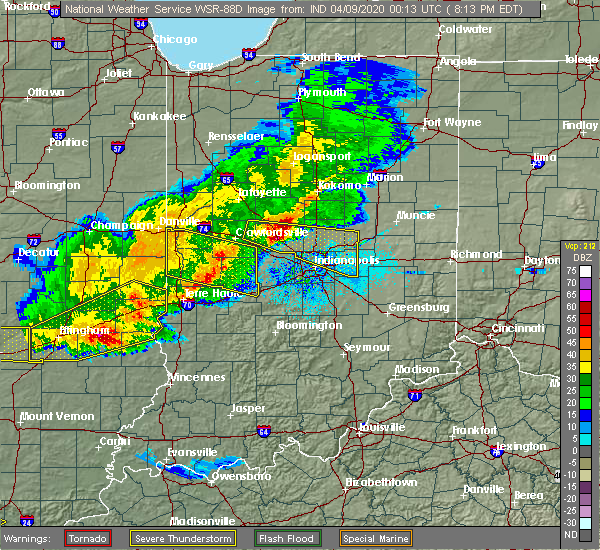 Radar Image for Severe Thunderstorms near Indianapolis, IN at 4/8/2020 8:18 PM EDT