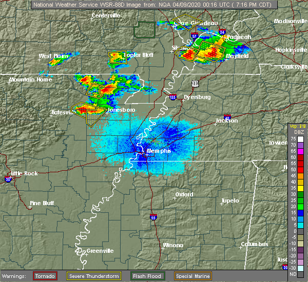 Radar Image for Severe Thunderstorms near Alicia, AR at 4/8/2020 7:20 PM CDT