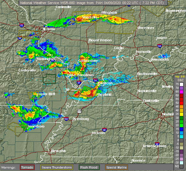 Radar Image for Severe Thunderstorms near Benton, KY at 4/8/2020 7:26 PM CDT