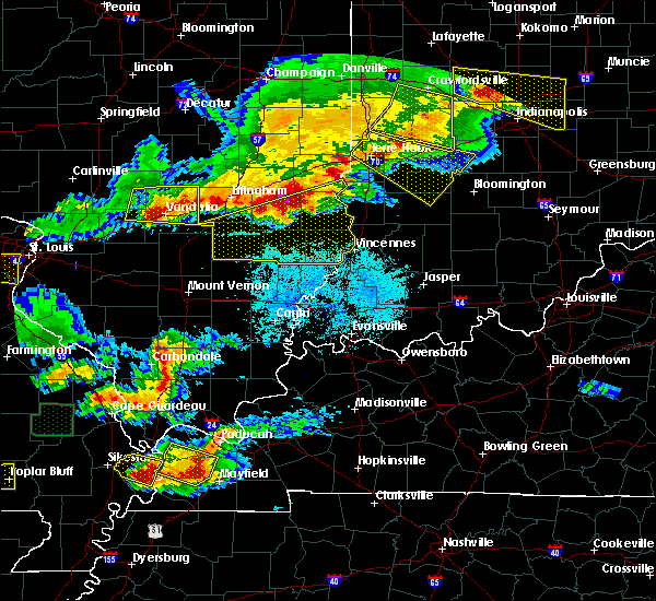 Radar Image for Severe Thunderstorms near Monroe City, IN at 4/8/2020 8:27 PM EDT