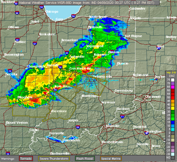 Radar Image for Severe Thunderstorms near Bainbridge, IN at 4/8/2020 8:30 PM EDT