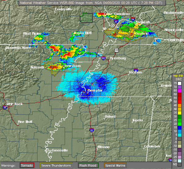 Radar Image for Severe Thunderstorms near Alicia, AR at 4/8/2020 7:33 PM CDT