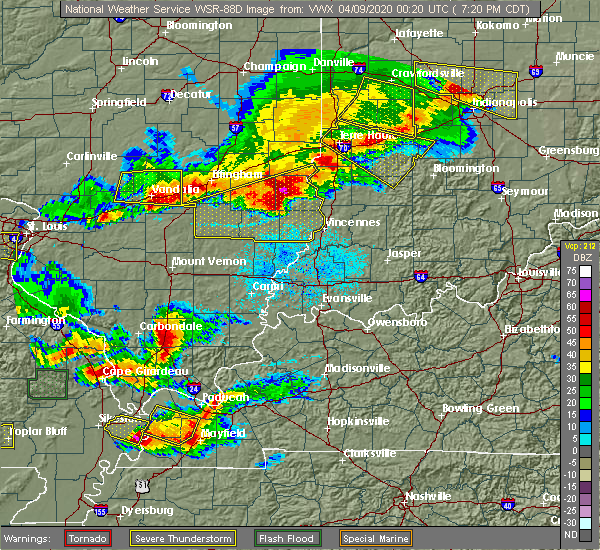 Radar Image for Severe Thunderstorms near Farina, IL at 4/8/2020 7:35 PM CDT