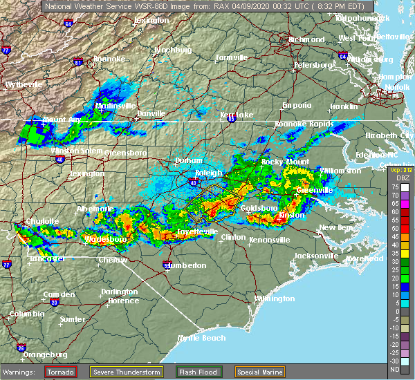 Radar Image for Severe Thunderstorms near Smithfield, NC at 4/8/2020 8:41 PM EDT