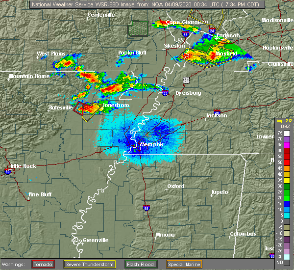 Radar Image for Severe Thunderstorms near Senath, MO at 4/8/2020 7:42 PM CDT