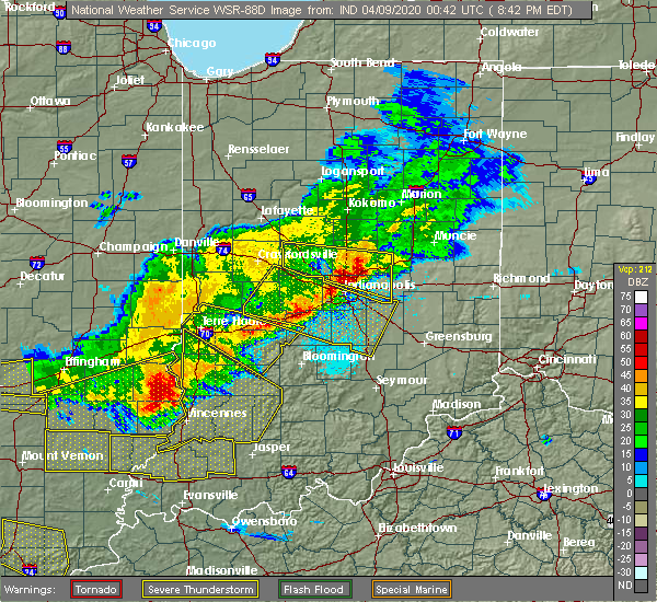 Radar Image for Severe Thunderstorms near Indianapolis, IN at 4/8/2020 8:47 PM EDT