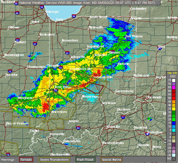 Radar Image for Severe Thunderstorms near Indianapolis, IN at 4/8/2020 8:49 PM EDT