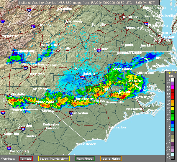 Radar Image for Severe Thunderstorms near Smithfield, NC at 4/8/2020 8:56 PM EDT