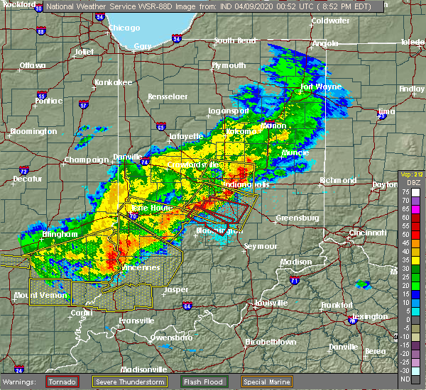 Radar Image for Severe Thunderstorms near Indianapolis, IN at 4/8/2020 8:57 PM EDT
