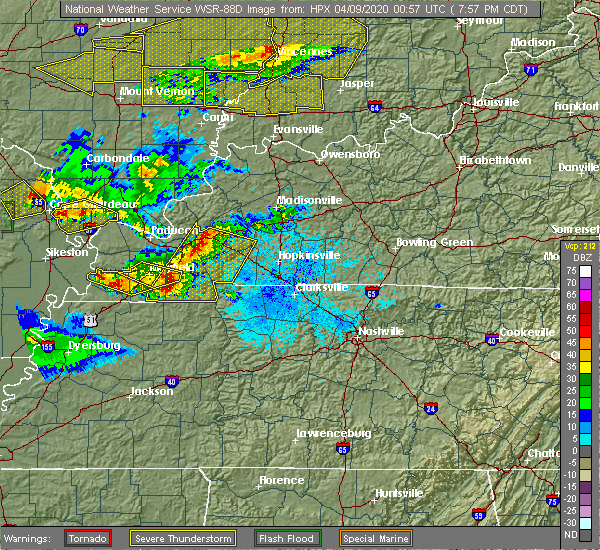 Radar Image for Severe Thunderstorms near Puryear, TN at 4/8/2020 8:01 PM CDT