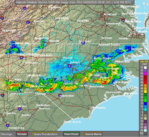 Radar Image for Severe Thunderstorms near Mount Olive, NC at 4/8/2020 9:02 PM EDT