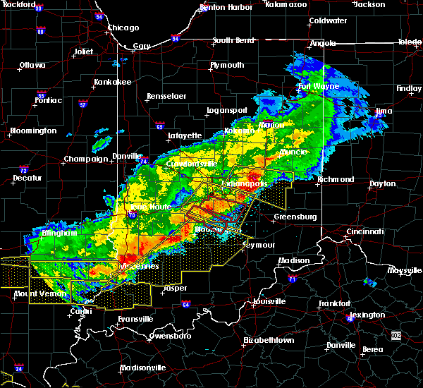 Radar Image for Severe Thunderstorms near Mount Auburn, IN at 4/8/2020 9:11 PM EDT