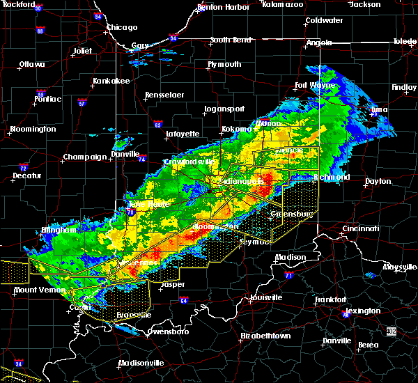 Radar Image for Severe Thunderstorms near Mount Auburn, IN at 4/8/2020 9:24 PM EDT