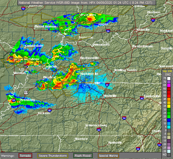 Radar Image for Severe Thunderstorms near Clarksville, TN at 4/8/2020 8:27 PM CDT