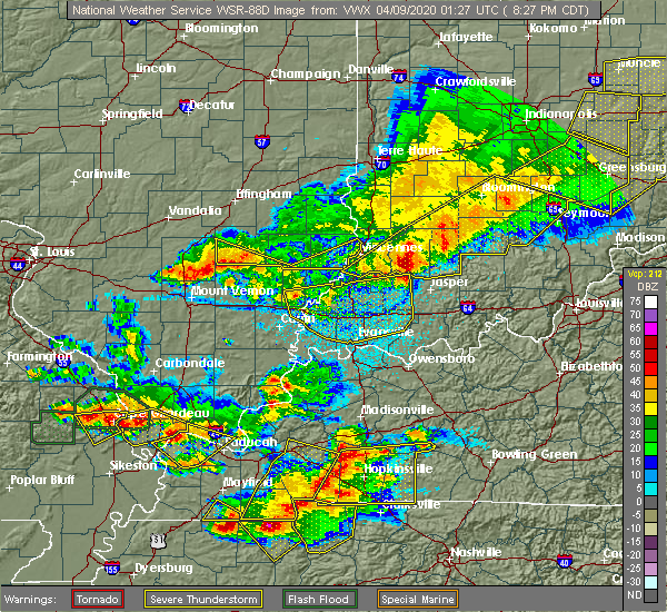 Radar Image for Severe Thunderstorms near Dubois, IN at 4/8/2020 9:33 PM EDT