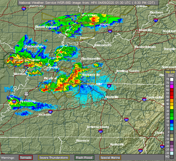 Radar Image for Severe Thunderstorms near Hazel, KY at 4/8/2020 8:34 PM CDT
