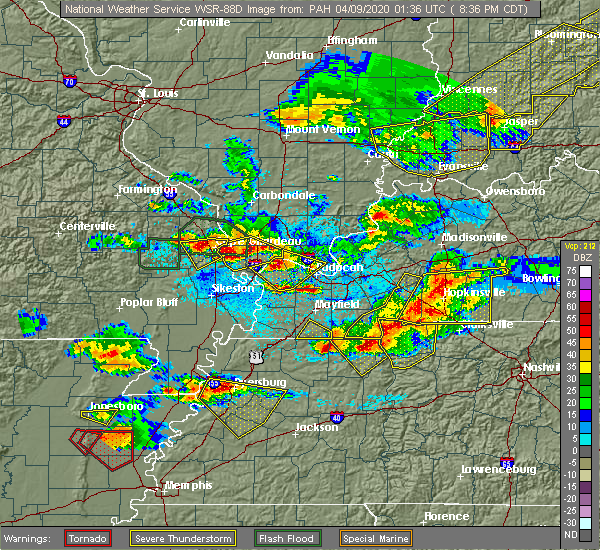 Radar Image for Severe Thunderstorms near Olive Branch, IL at 4/8/2020 8:43 PM CDT