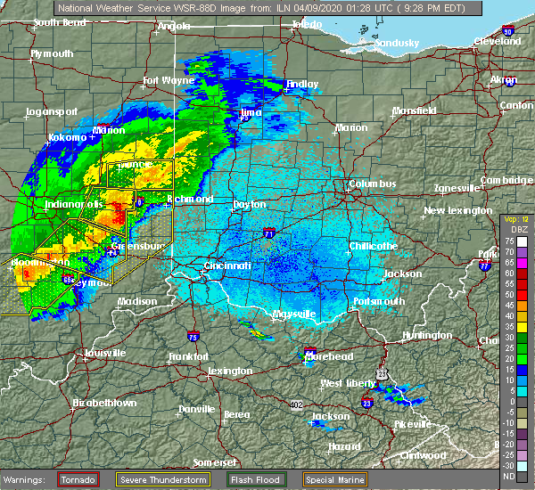 Radar Image for Severe Thunderstorms near Dunlap, OH at 4/8/2020 9:45 PM EDT