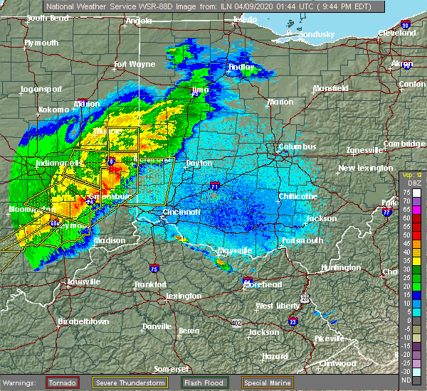 Radar Image for Severe Thunderstorms near Greenhills, OH at 4/8/2020 9:49 PM EDT