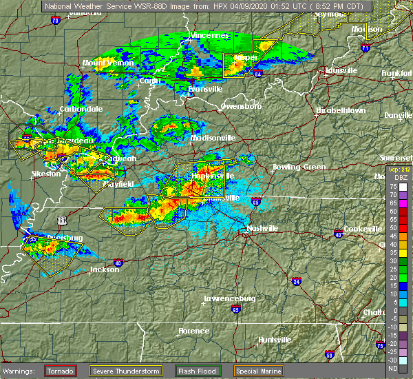 Radar Image for Severe Thunderstorms near Clarksville, TN at 4/8/2020 8:58 PM CDT