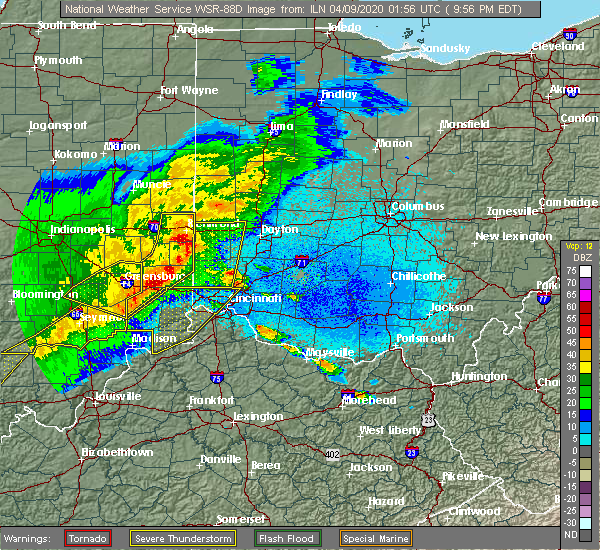 Radar Image for Severe Thunderstorms near Brookville, OH at 4/8/2020 10:06 PM EDT