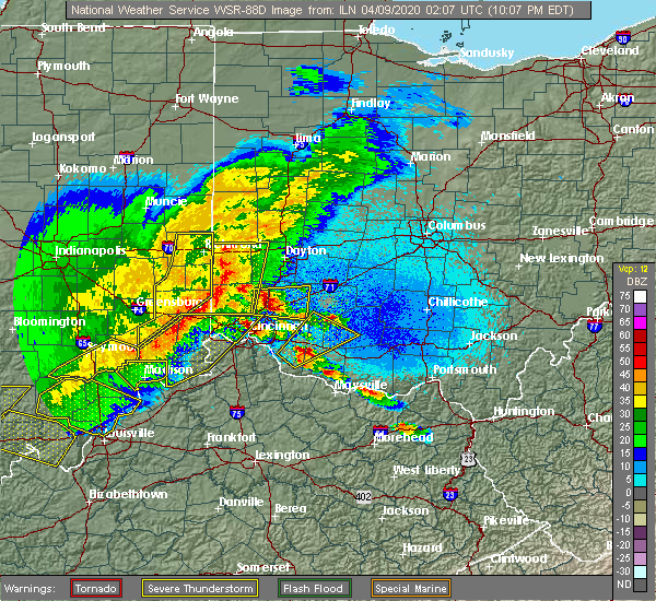 Radar Image for Severe Thunderstorms near Greenhills, OH at 4/8/2020 10:10 PM EDT