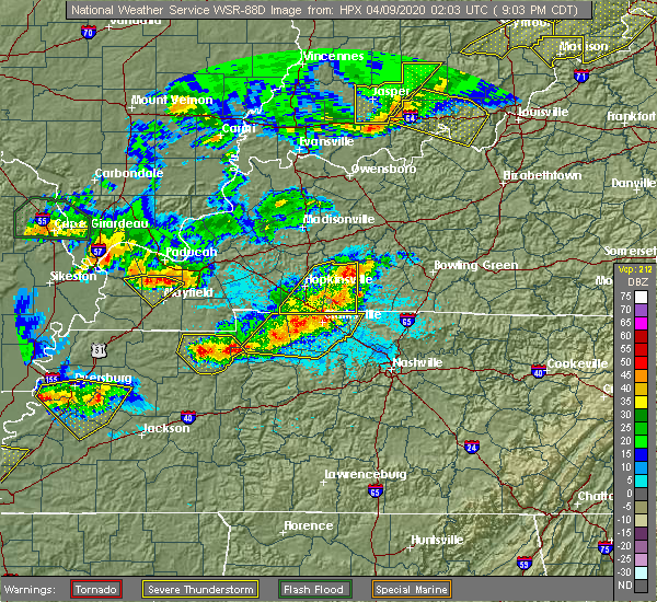 Radar Image for Severe Thunderstorms near Tennessee Ridge, TN at 4/8/2020 9:14 PM CDT