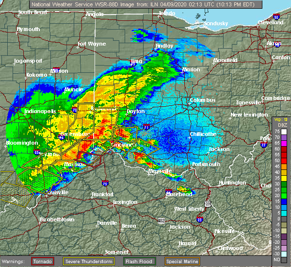 Radar Image for Severe Thunderstorms near Kettering, OH at 4/8/2020 10:20 PM EDT