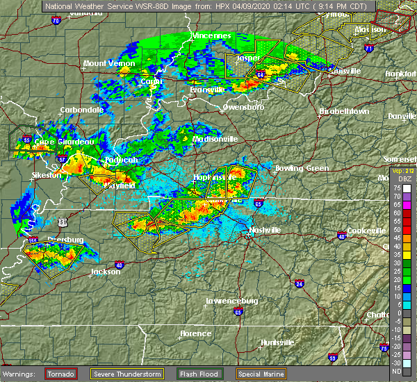 Radar Image for Severe Thunderstorms near Clarksville, TN at 4/8/2020 9:20 PM CDT
