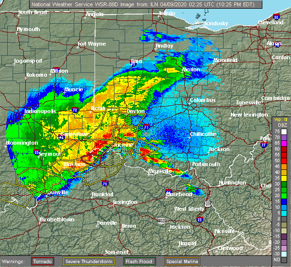 Radar Image for Severe Thunderstorms near Lynchburg, OH at 4/8/2020 10:29 PM EDT