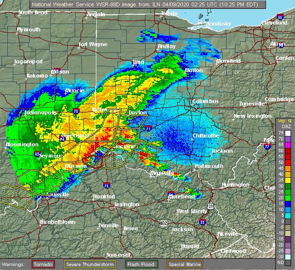 Radar Image for Severe Thunderstorms near Mariemont, OH at 4/8/2020 10:29 PM EDT