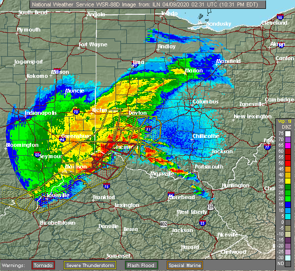 Radar Image for Severe Thunderstorms near Hillsboro, OH at 4/8/2020 10:37 PM EDT