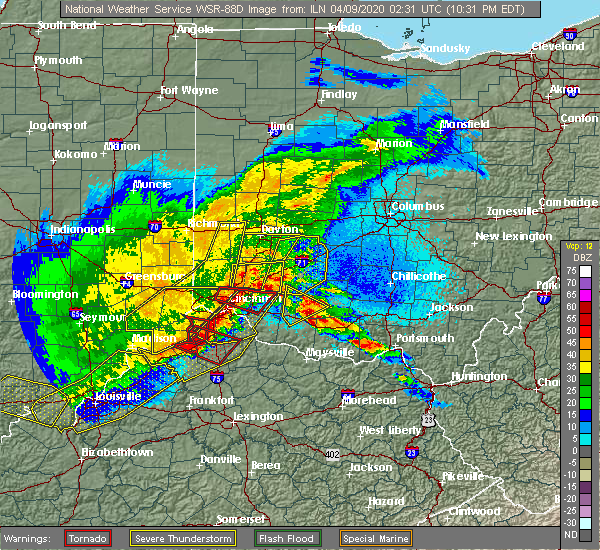 Radar Image for Severe Thunderstorms near Fairfax, OH at 4/8/2020 10:39 PM EDT