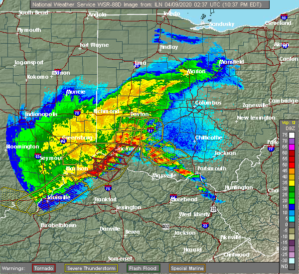 Radar Image for Severe Thunderstorms near Lynchburg, OH at 4/8/2020 10:42 PM EDT
