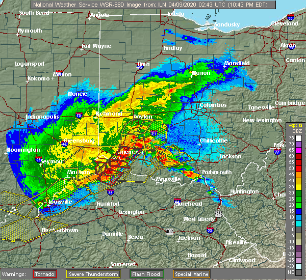 Radar Image for Severe Thunderstorms near Mount Orab, OH at 4/8/2020 10:48 PM EDT