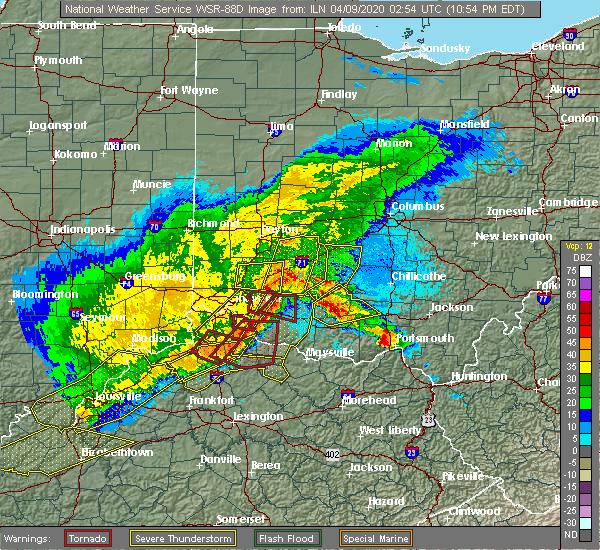 Radar Image for Severe Thunderstorms near Lynchburg, OH at 4/8/2020 11:00 PM EDT