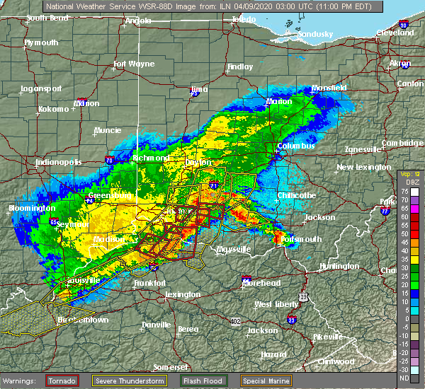 Radar Image for Severe Thunderstorms near Hillsboro, OH at 4/8/2020 11:08 PM EDT