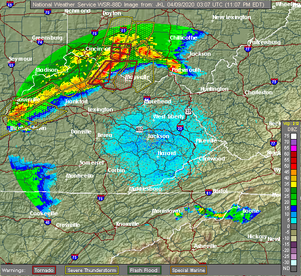 Radar Image for Severe Thunderstorms near Paris, KY at 4/8/2020 11:11 PM EDT