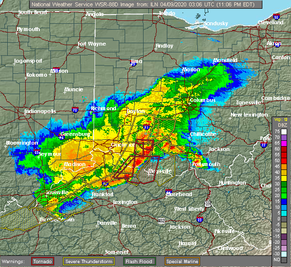 Radar Image for Severe Thunderstorms near Hillsboro, OH at 4/8/2020 11:14 PM EDT