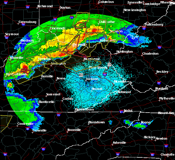 Radar Image for Severe Thunderstorms near Frenchburg, KY at 4/8/2020 11:43 PM EDT