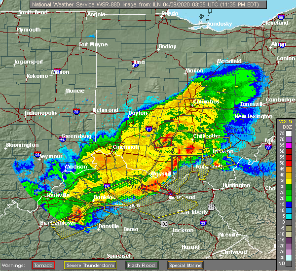 Radar Image for Severe Thunderstorms near Hillsboro, OH at 4/8/2020 11:44 PM EDT