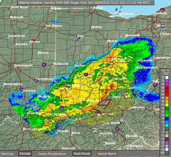 Radar Image for Severe Thunderstorms near Portsmouth, OH at 4/8/2020 11:55 PM EDT