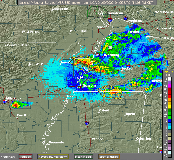 Radar Image for Severe Thunderstorms near Saulsbury, TN at 4/8/2020 11:11 PM CDT