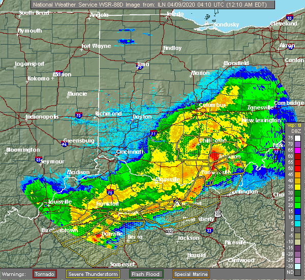 Radar Image for Severe Thunderstorms near Jackson, OH at 4/9/2020 12:13 AM EDT
