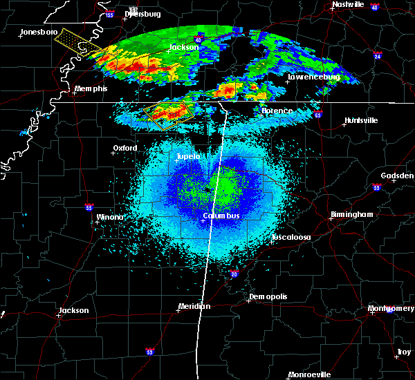 Radar Image for Severe Thunderstorms near Corinth, MS at 4/8/2020 11:37 PM CDT
