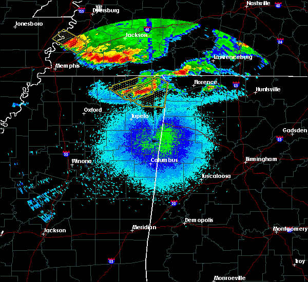 Radar Image for Severe Thunderstorms near Rienzi, MS at 4/8/2020 11:57 PM CDT
