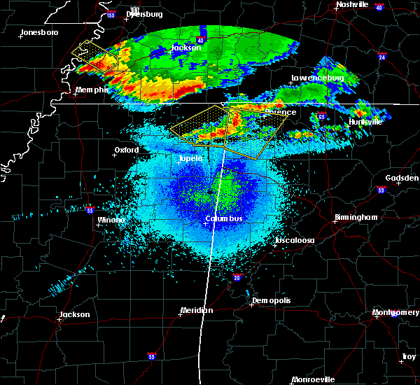 Radar Image for Severe Thunderstorms near Rienzi, MS at 4/9/2020 12:26 AM CDT