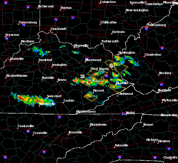 Radar Image for Severe Thunderstorms near Jackson, KY at 6/25/2015 7:19 PM EDT