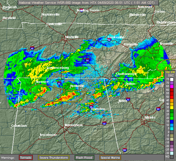 Radar Image for Severe Thunderstorms near Athens, AL at 4/9/2020 1:57 AM CDT