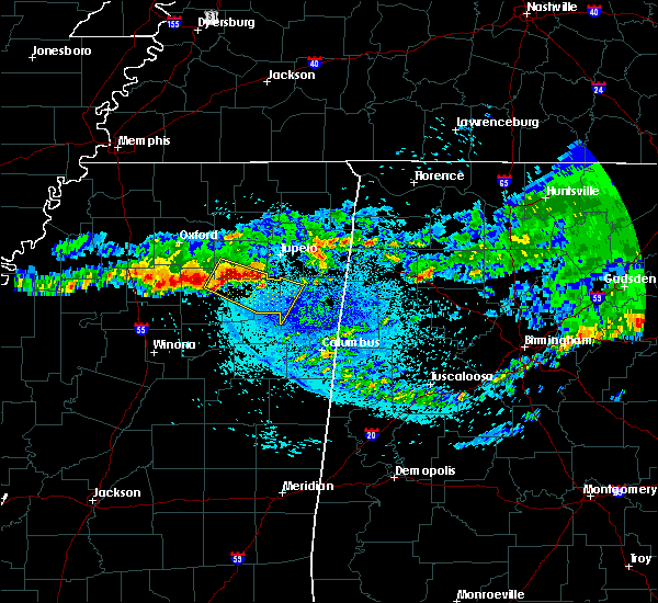 Radar Image for Severe Thunderstorms near Algoma, MS at 4/9/2020 3:53 AM CDT